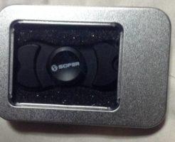 ケースに入った状態のSofer(ソフェル) ハンドスピナー fidget spinner 双葉 亜鉛合金製 高速回転 暇つぶし 指スピナー HSN9 黒