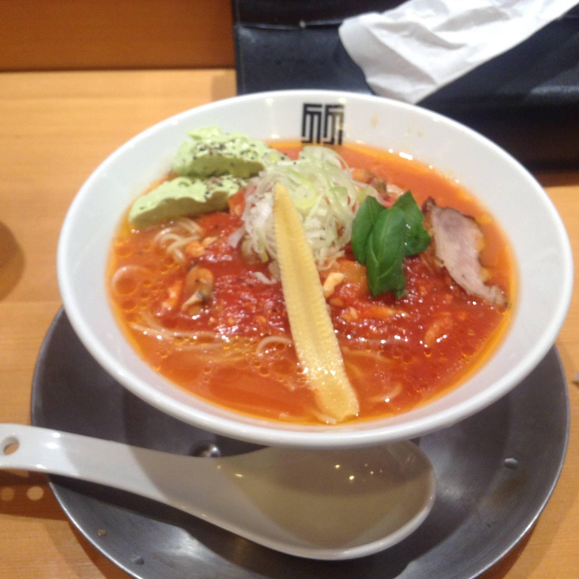 竹末東京プレアミアムの限定麺冷やし10ma10(トマト)そば