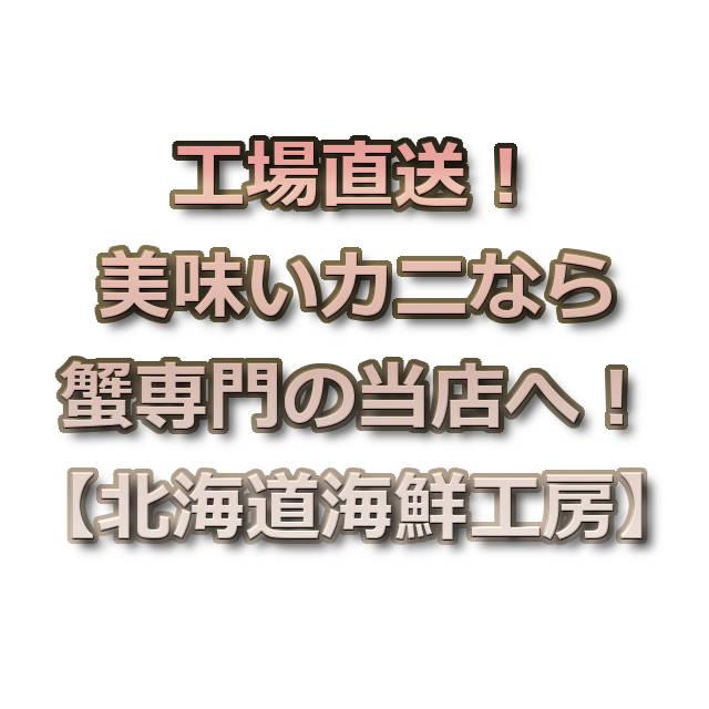 文字『工場直送!美味いカニなら蟹専門の当店へ!【北海道海鮮工房】』