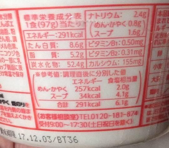 栄養成分表示『麺づくり 鶏ガラ醤油 (マルちゃん)』