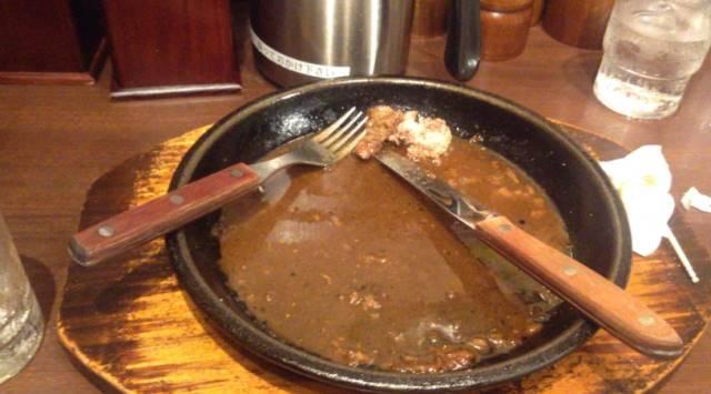 完食した いきなり!ステーキのワイルドステーキ450g