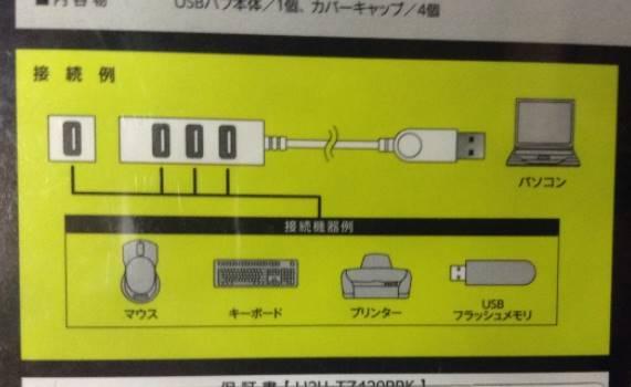 接続例 エレコム USBハブ 2.0対応 4ポート バスパワー 2.0m ブラック U2H-TZ420BBK