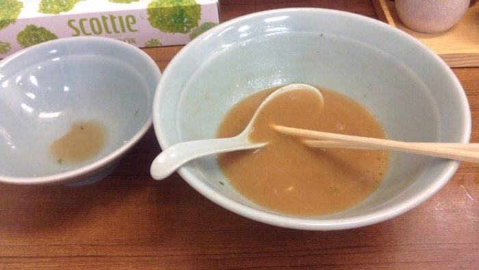 武蔵家北千住店2回目 スープは飲み干せない