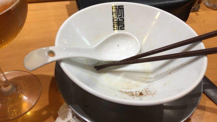 竹末東京プレミアムの塩そば 完食した丼