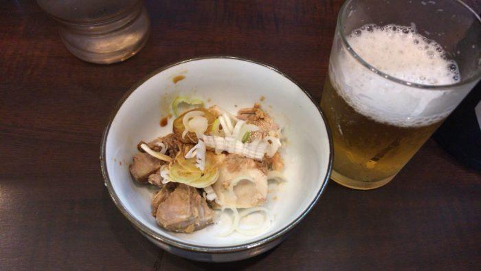 ビールのお通しの肉 らーめん潤亀戸店