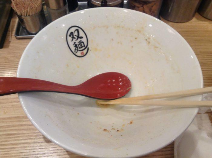 双麺 錦糸町店の双麺 醤油750円 の完食した丼