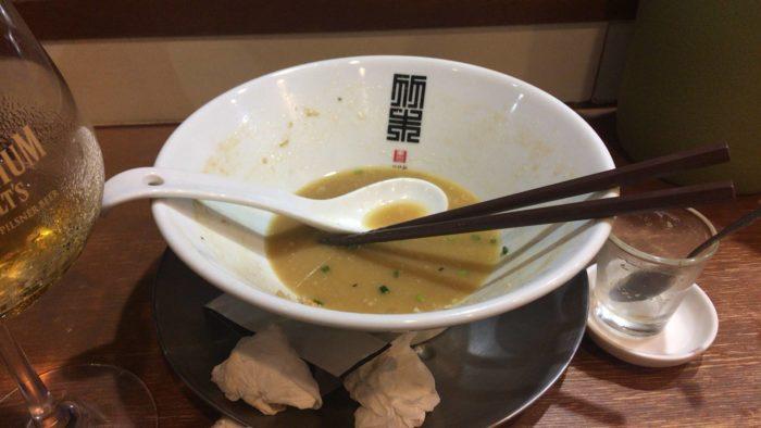 鶏ホタテそば麺大盛り+味玉 完食するも完飲ならず