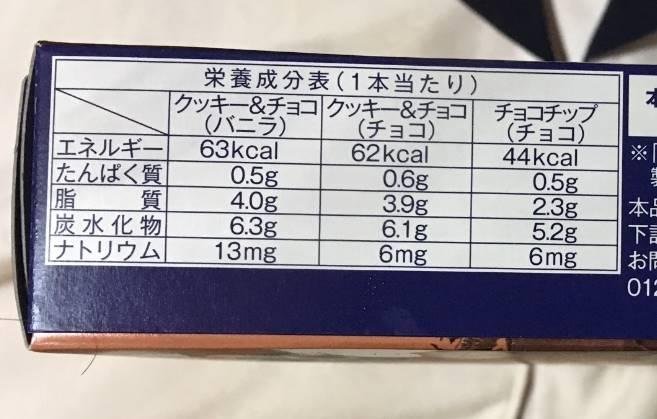 栄養成分表「3種類のチョコレートバー(ラクトアイス)|ローソンセレクト」