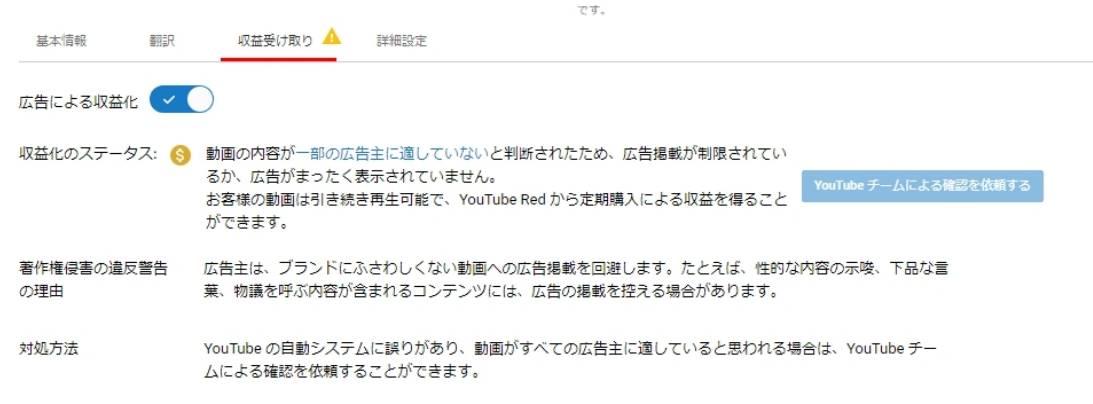 YouTubeの収益化表示 動画詳細設定画面の表示