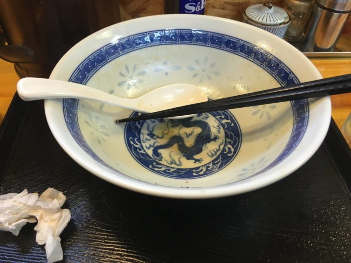 中川會 頂 曳舟店 濃厚魚介鶏らーめん完食した丼