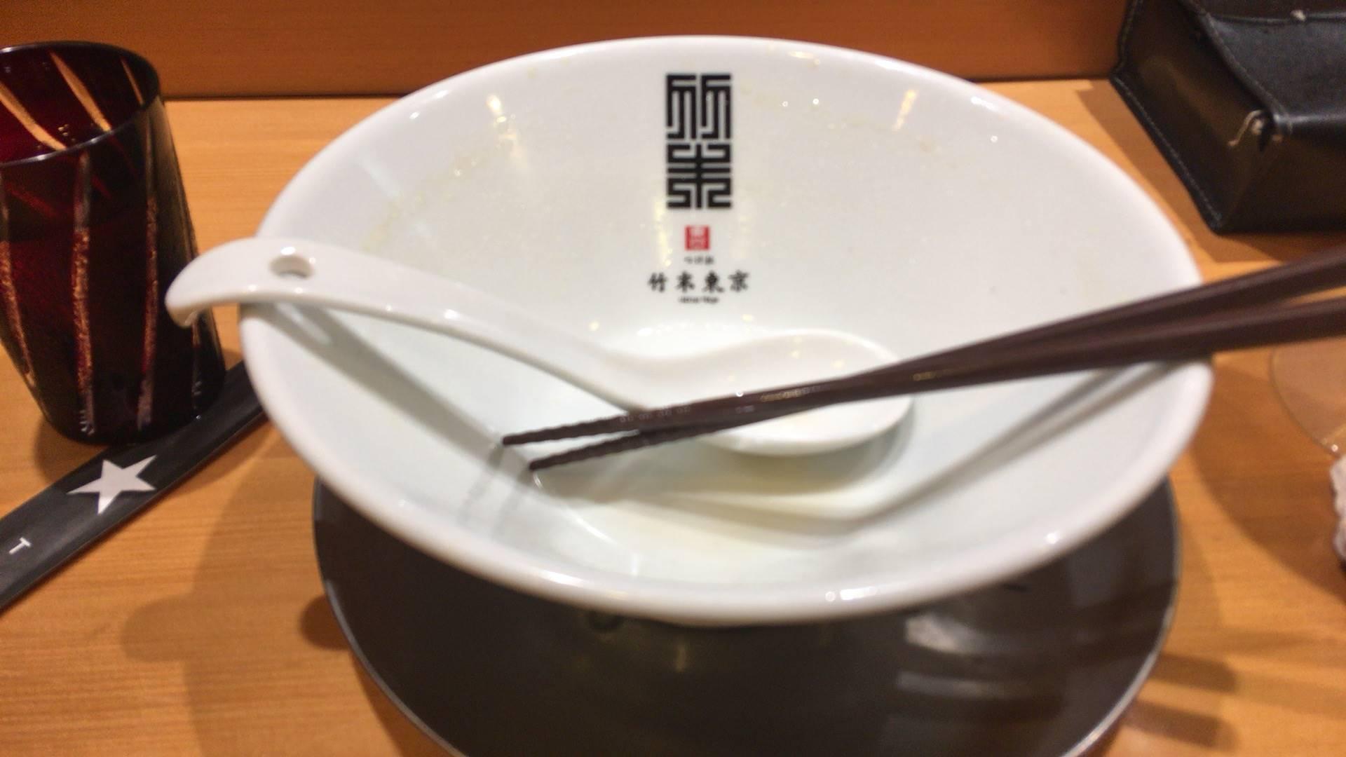 醤油そば麺大盛り完飲・完食した丼竹末東京プレミアム