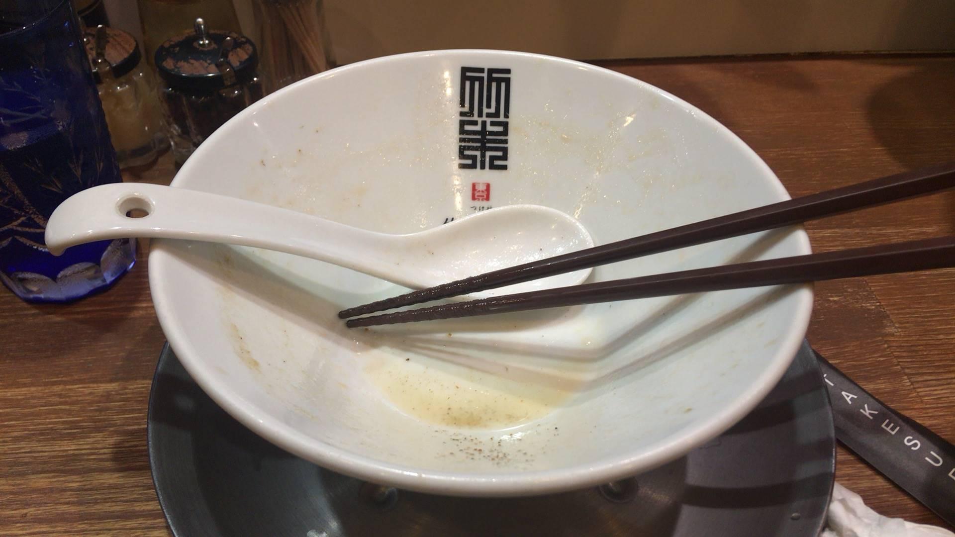 『竹末東京プレミアム』ヤシオマスの塩そば880円 完食した丼