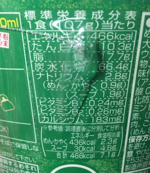 栄養成分表示 日清貫禄の一品 きつねうどん|カップうどん