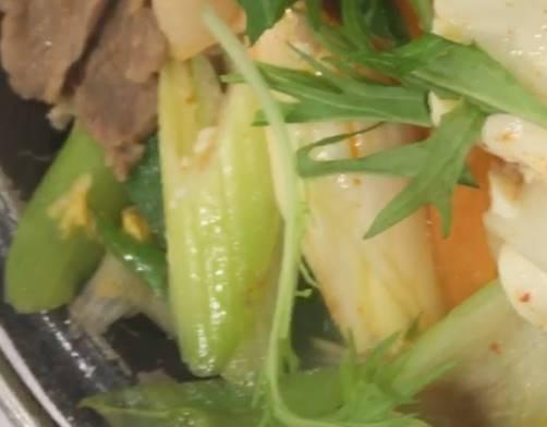 「鬼辛豚チゲ鍋膳」のネギ