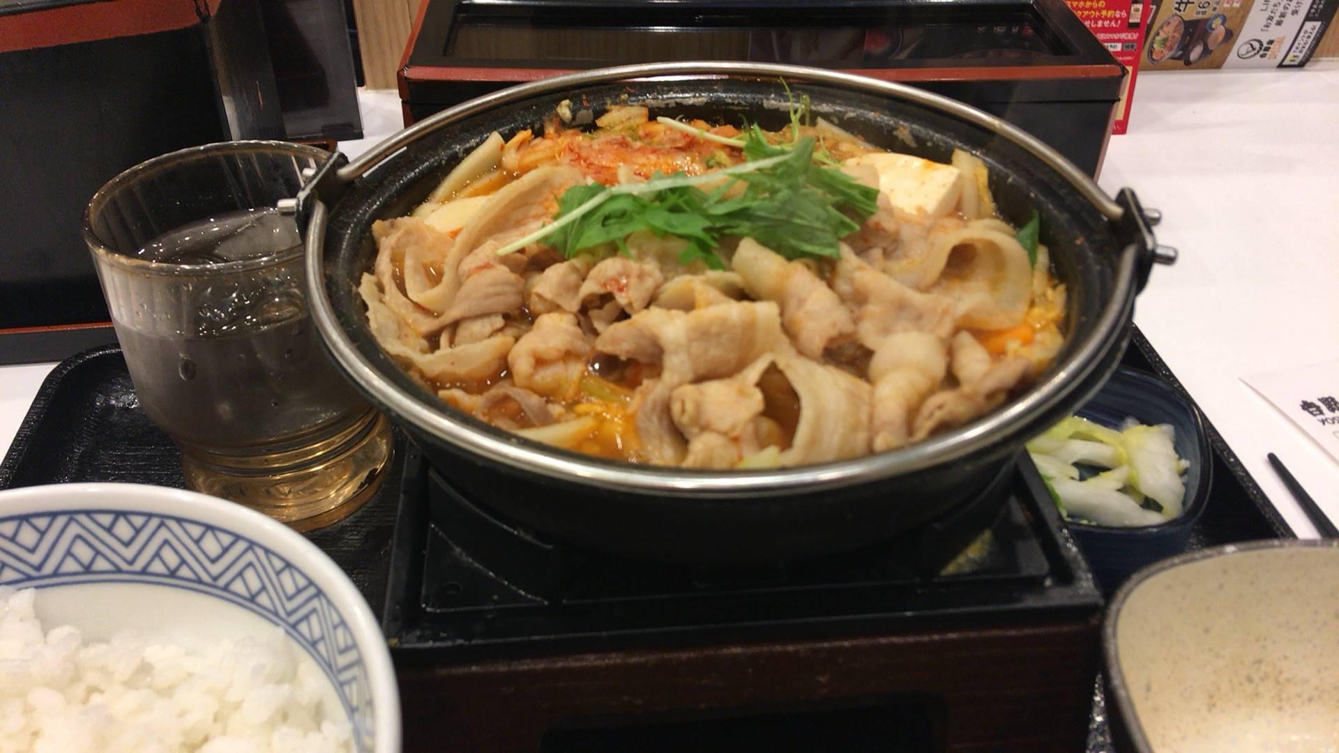 吉野家にて9食目 鬼辛豚チゲ鍋膳 セット並盛