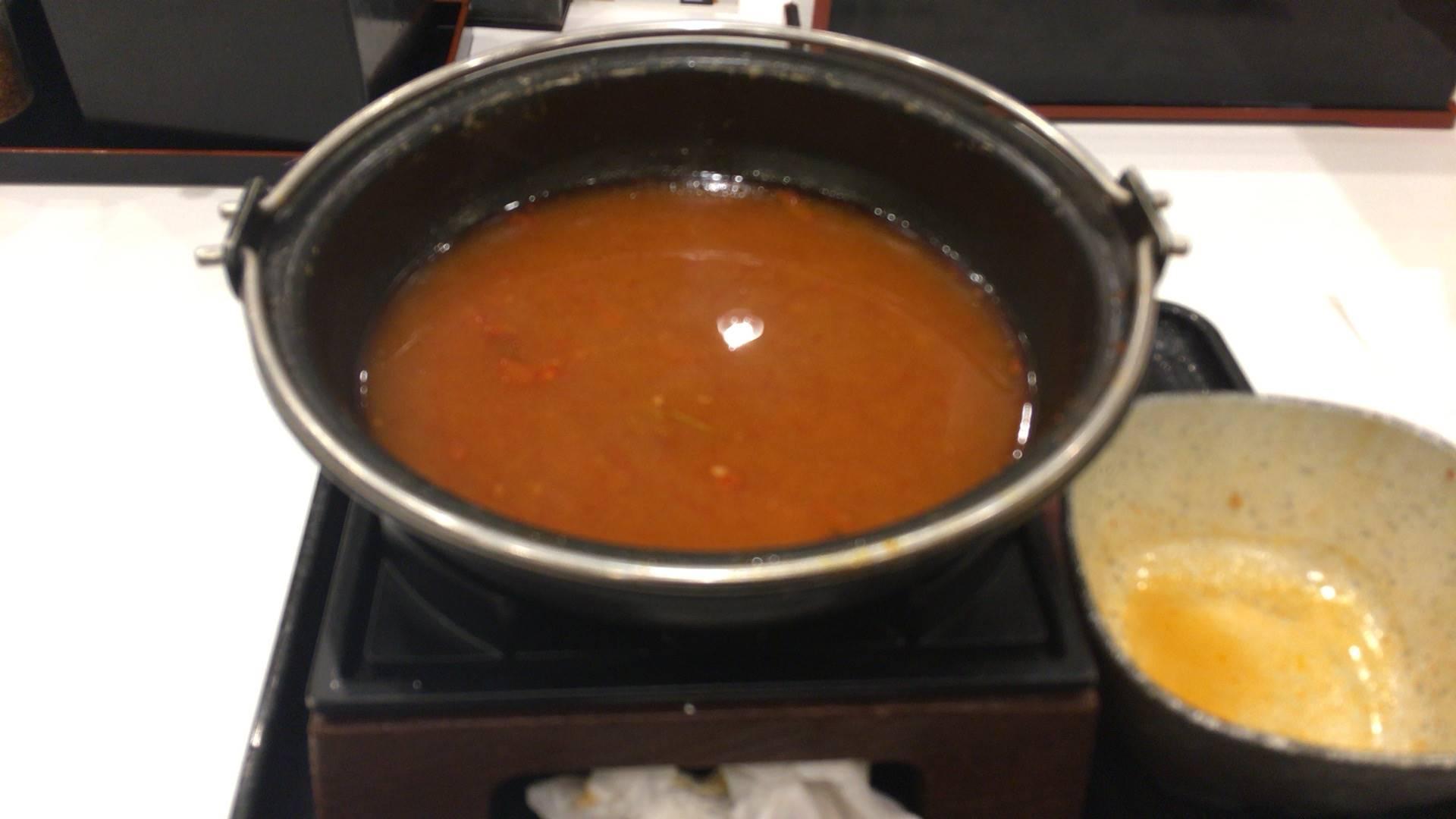 鬼辛豚チゲ鍋膳 単品「大盛り」と「肉二倍盛り」完食した鍋