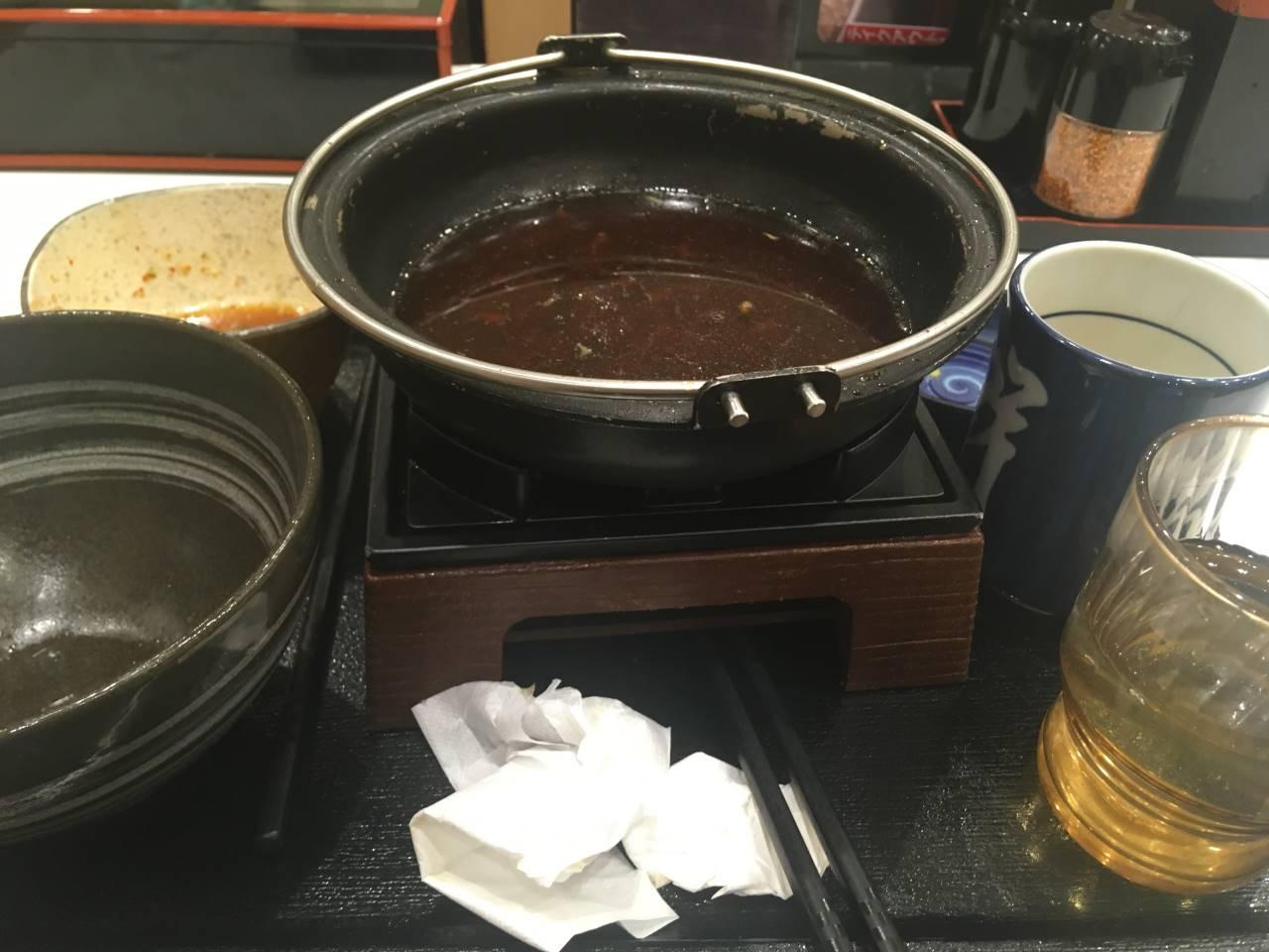 「牛すき鍋膳 並盛」6食目完食