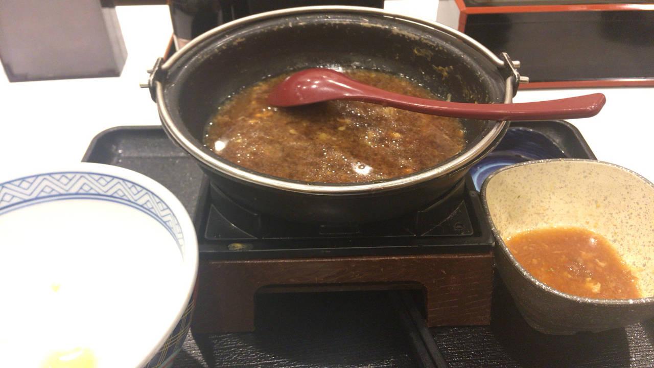 吉野家の牛すき鍋膳650円完食した写真