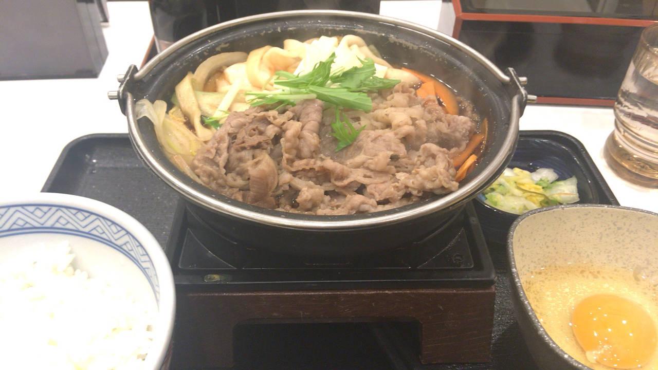 吉野家の牛すき鍋膳650円 8食目