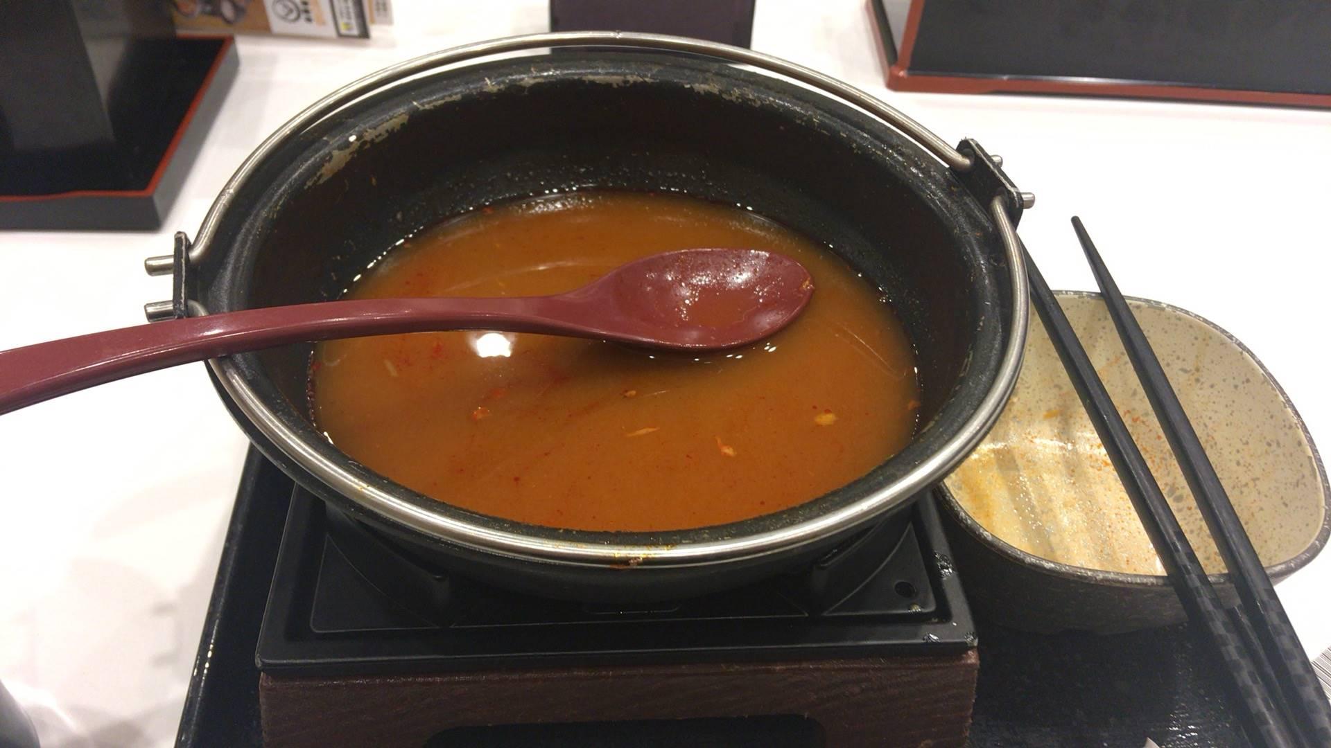 鬼辛豚チゲ鍋単品と「ネギ増し」+100円完食した鍋