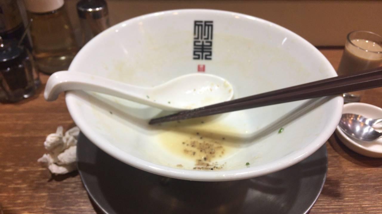 鶏ホタテそば麺大盛り完食