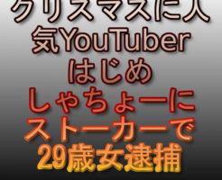 文字『クリスマスに人気YouTuberはじめしゃちょーにストーカーで29歳女逮捕』