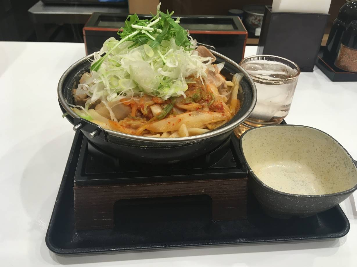 鬼辛豚チゲ鍋膳 単品580円葱増し+100円+肉二倍盛り+300円