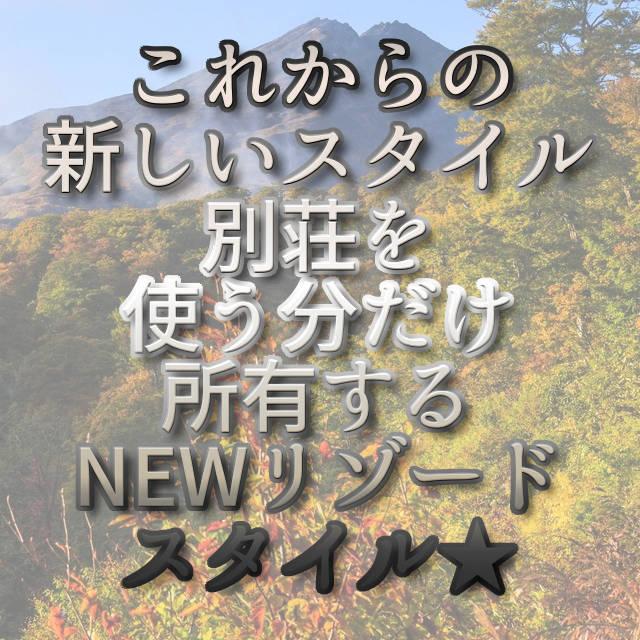 文字「これからの新しいスタイル 別荘を使う分だけ所有するNEWリゾードスタイル」