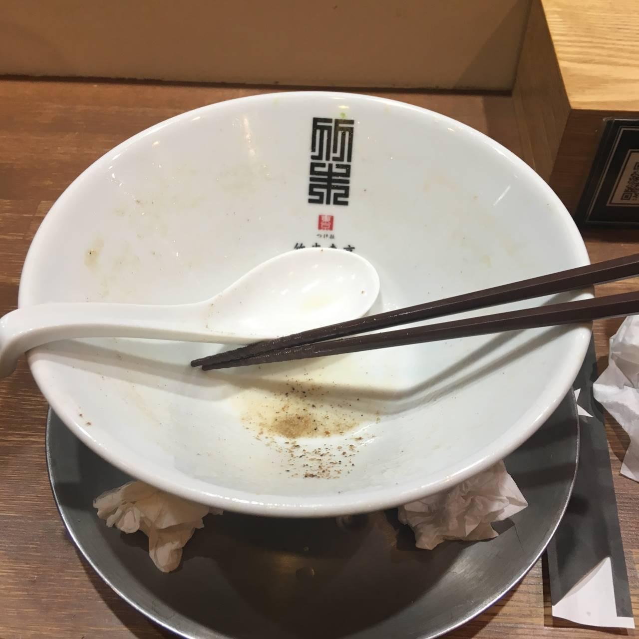 ヤシオマスの塩そば麺大盛り(竹末東京プレミアム)完食した丼