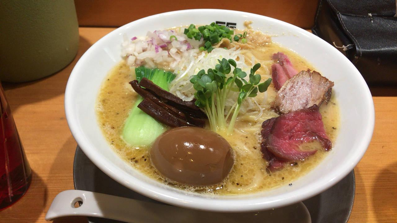 鶏ホタテそば+麺大盛+味玉