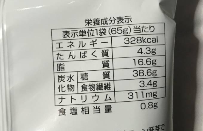 栄養成分表示 Free From 塩だけで味付けした トルティアチップス
