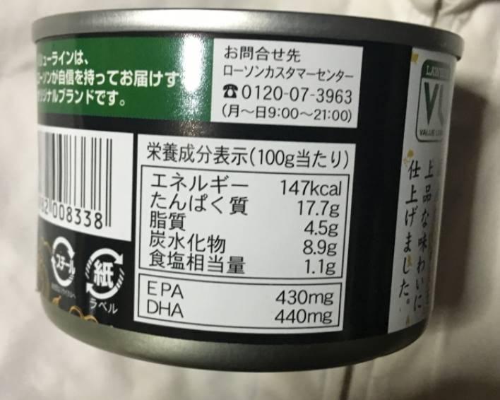 いわしの味噌煮:栄養成分表示