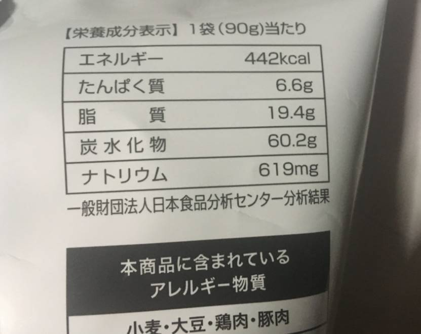 栄養成分表示 メキシカンチップススパイシータコス味|ファミリーマート