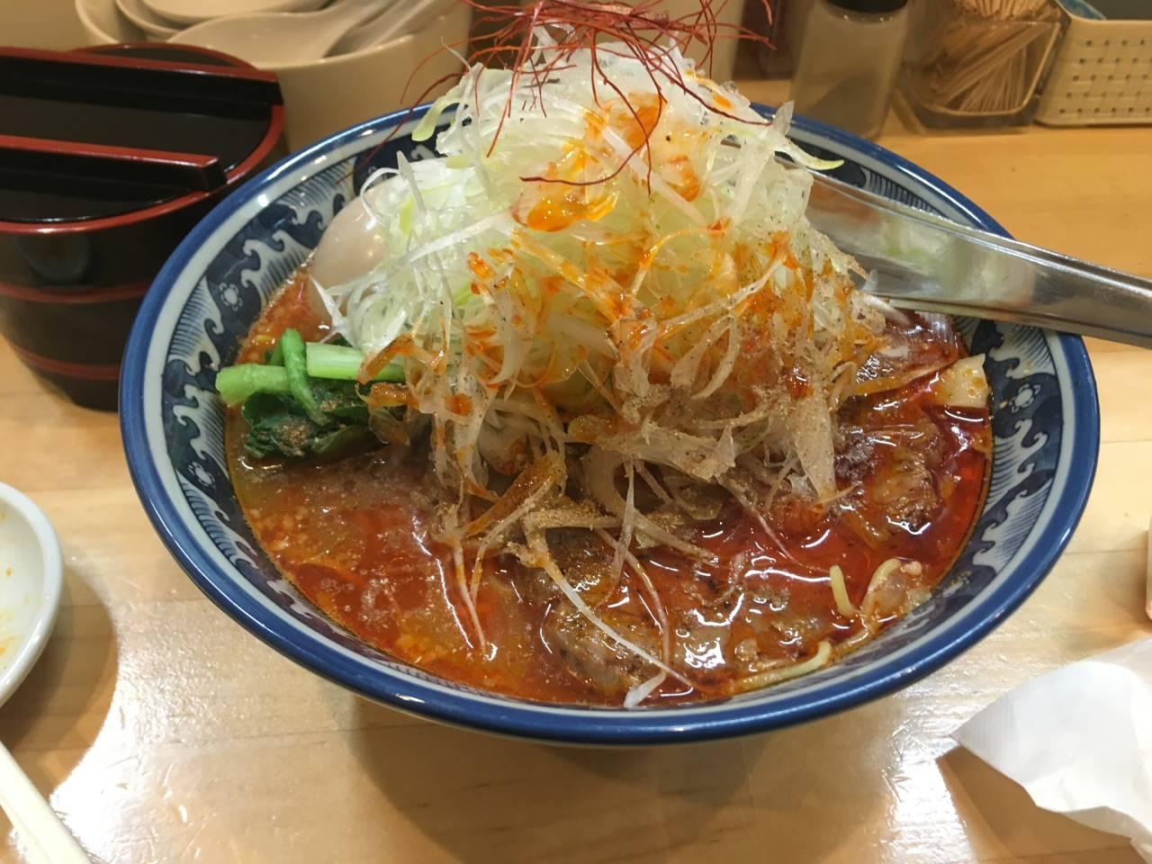 辛そば(1辛)大盛り+葱(100円)他|ラーメンソレナリ(Sorenari)にて