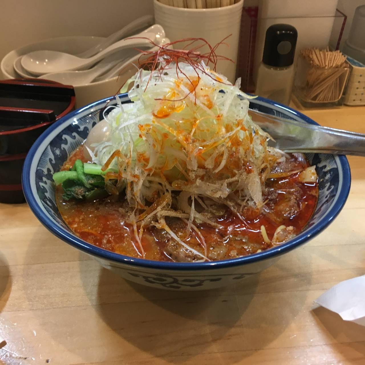 辛そば(1辛)大盛り+葱(100円)他|ラーメンソレナリ(Sorenari)