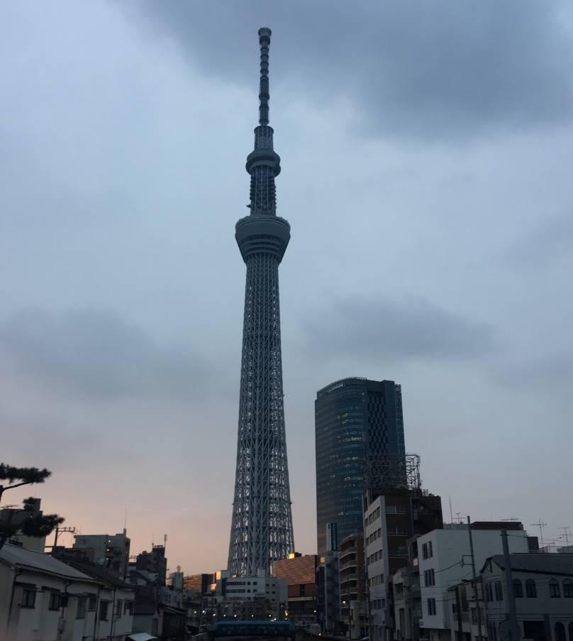 竹末東京プレミアム近くの十間橋から見たスカイツリー