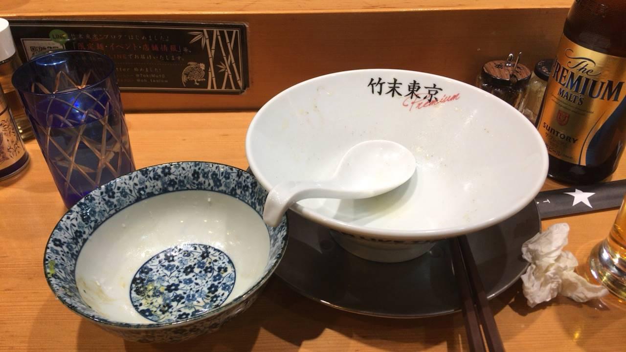 竹末東京プレミアム 塩そば800円完食した丼