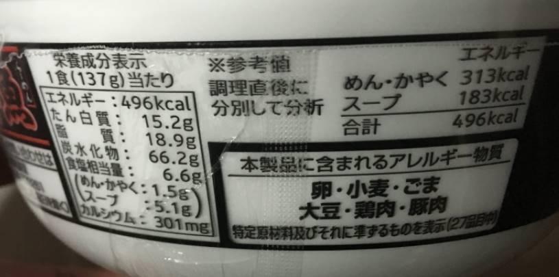 栄養成分表示 麺処井の庄監修辛辛魚らーめん|寿がき