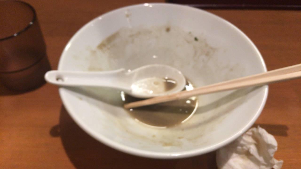 亀戸煮干中華そばつきひ特製濃厚そば完食した丼