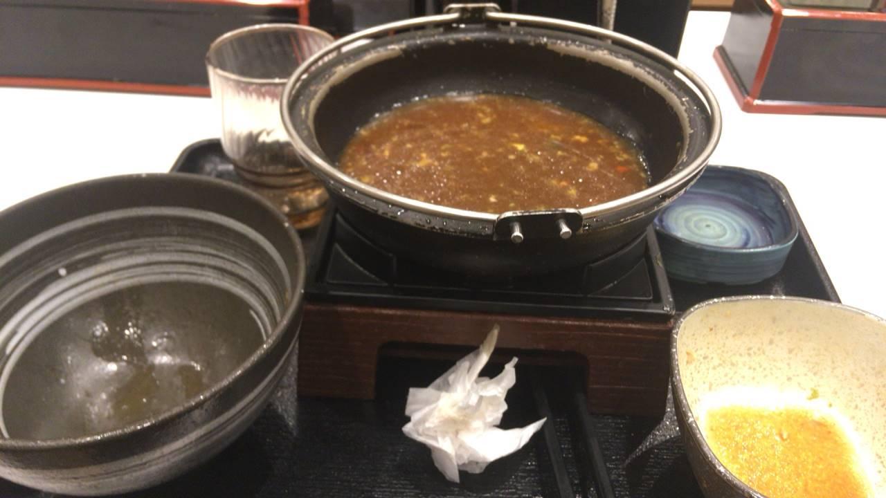 すき鍋を完食した鍋
