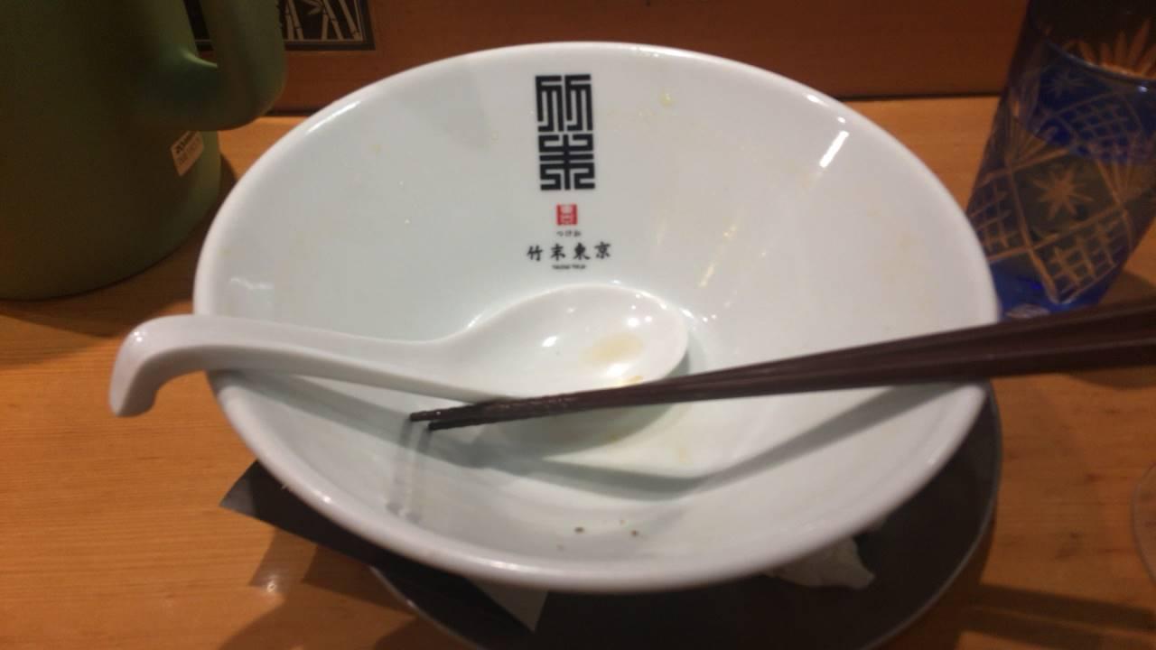 醤油そば(麺大盛)完食した丼