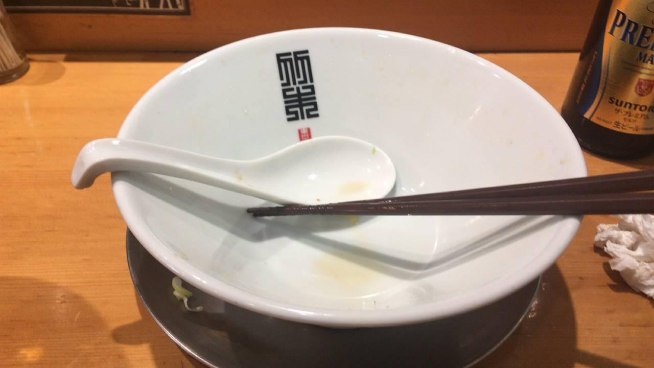 竹末東京プレミアムの醤油そば大盛り完食した丼