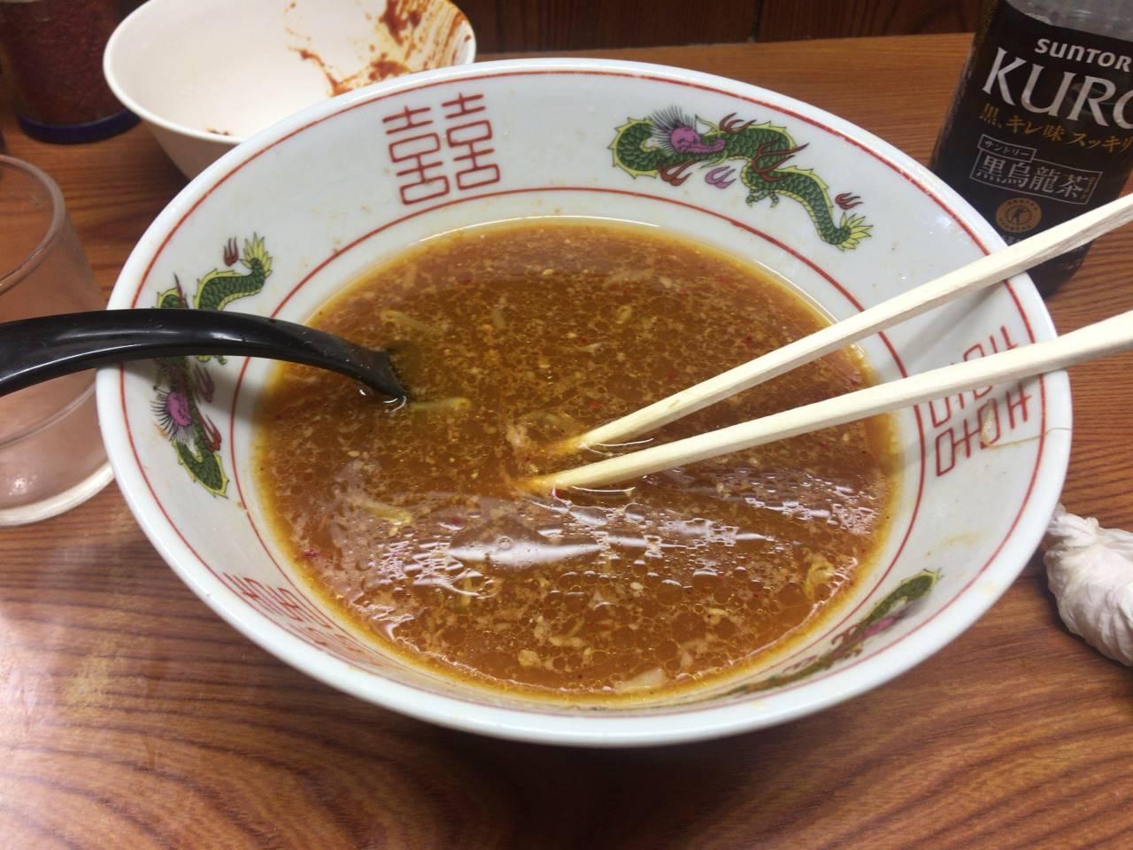 ラーメン二郎亀戸店:ラーメン730円と辛味噌食べ終えた丼