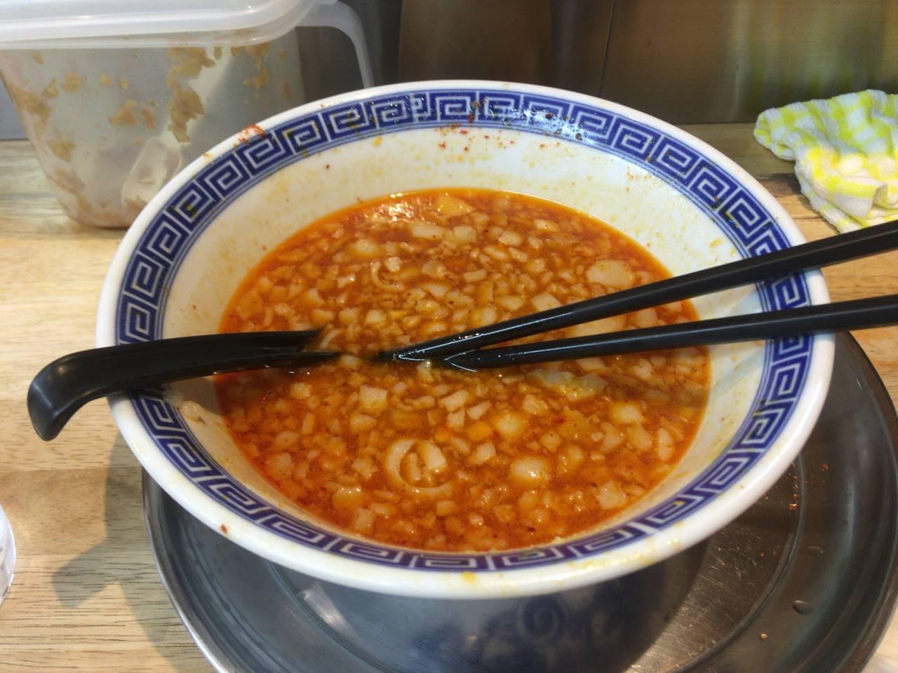 麺絆や 519(こいけ) で四川辣醤麺800円完食した丼