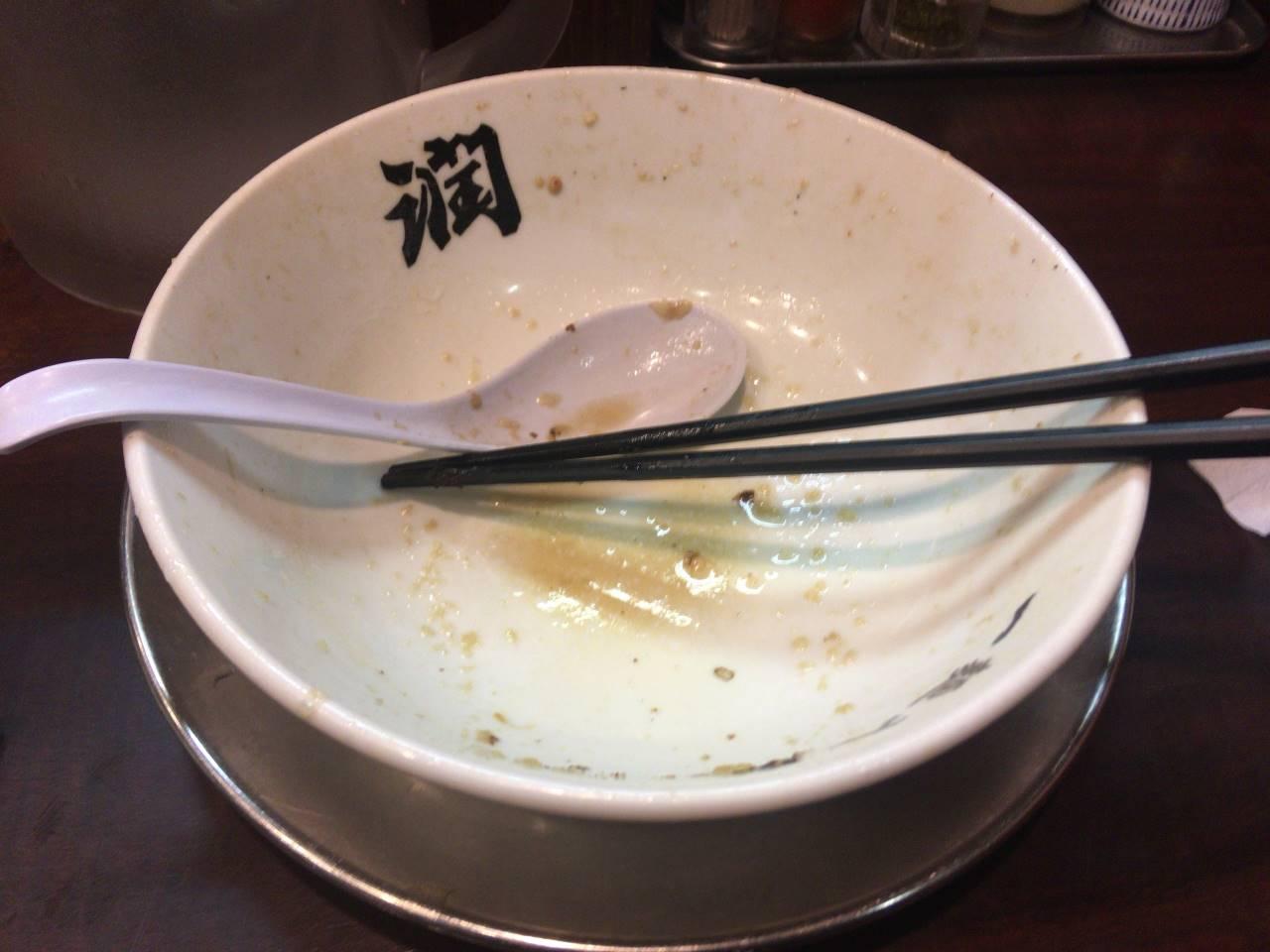 完食した丼|中華そば(中油・玉ねぎ多め)