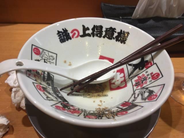 鶏ホタテそば 麺大盛り1000円完食した丼