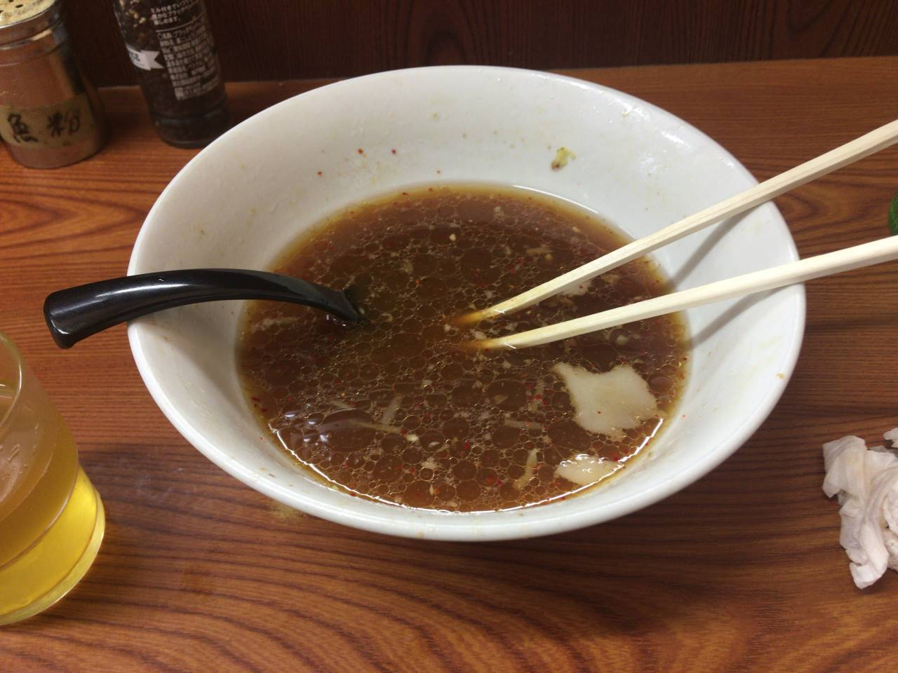 亀戸二郎のラーメン730円食べ終えた丼