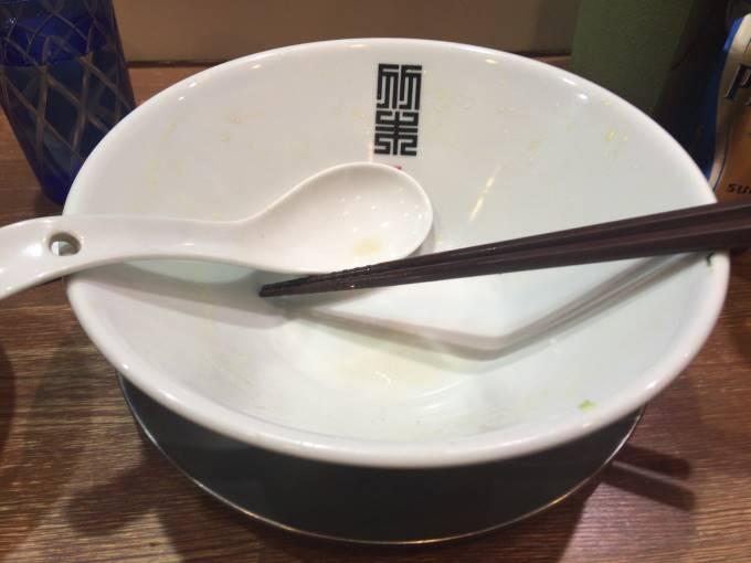 醤油そば麺大盛り完食した丼