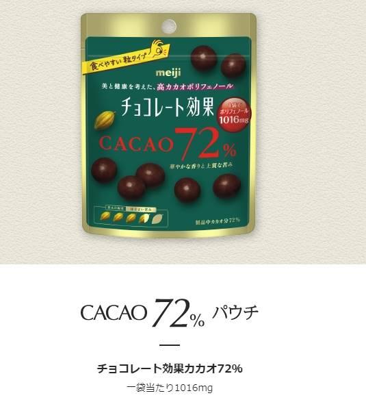 チョコレート効果カカオ72% 一袋当たり1016mg