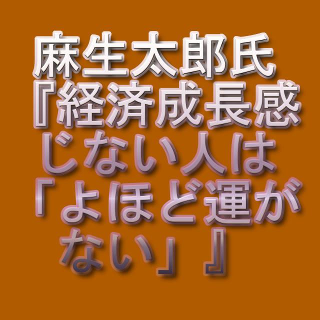 麻生太郎氏『経済成長感じない人は「よほど運がない」』